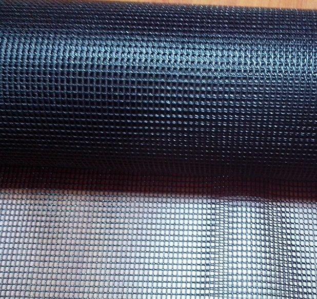 Fiberglass Mesh Screen Anti Flame Black Vinyl Coated